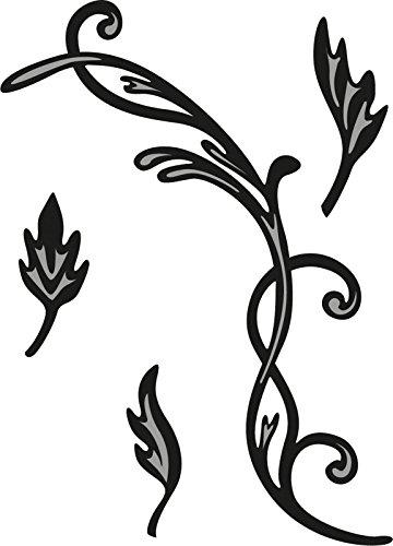 Marianne Design craftables Plantillas de Corte y Embossing, remolinos y Hojas 2, para proyectos de Manualidades de Papel, Metal, Gris, 200x90x5
