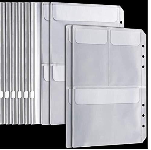 A5 6 bolsillos para carpetas de anillas 6 bolsas con cierre de cremallera, 2 bolsillos de almacenamiento separados, 2 bolsillos para tarjetas de crédito para organizador Filofax tarjeta presentación