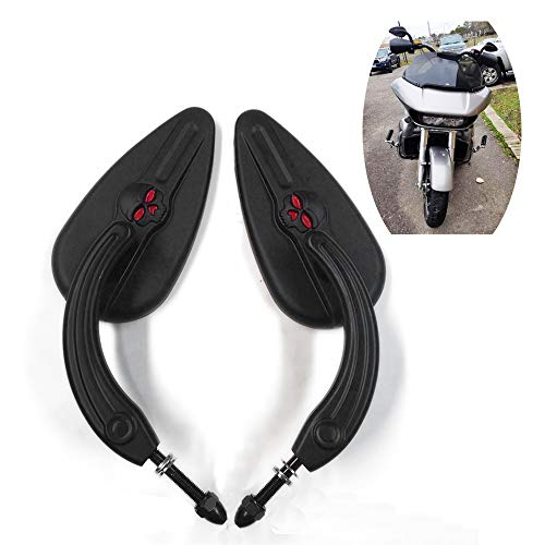 HTTMT MT383-SC-BK Black Teardrop Skull Zombie Mirrors Compatible with Sportster Dyna Touring Dyna Wide Glide EFI FXDWGI