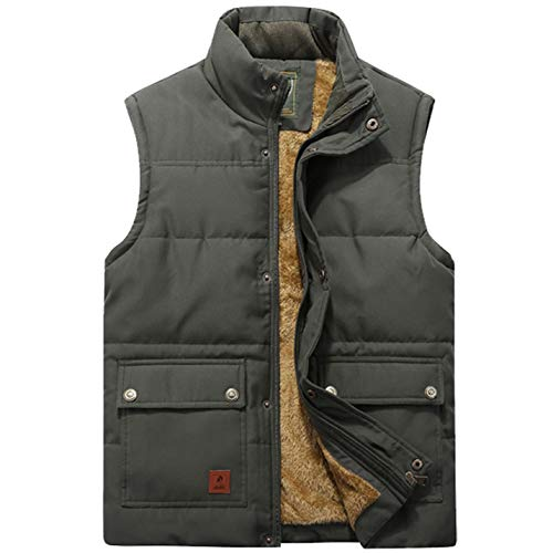 Flygo Men's Winter Warm Outdoor Padded Puffer Vest Thick Fleece Lined Sleeveless Jacket (Style 02 Army green, Medium)