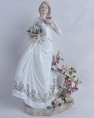 DDGD Sculpture Vintage Porcelain Flower Picking Girl Miniature Statuette Handmade Ceramics Belle Figurine Decoration Craft Present Ornament