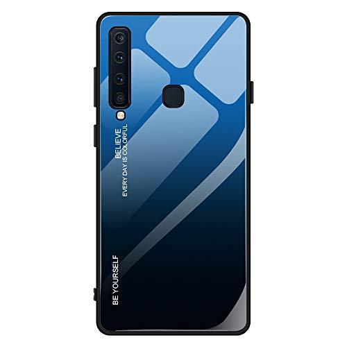 Kompatibel mit Samsung Galaxy A9 2018 Hülle,9H Gehärtetes Glas +Silikon Bumper Frame Ultra dünn Spiegel Handyhülle Farbverlauf Back Cover Clear Mirror Hülle Kratzfest Tasche Schale (Galaxy A9 2018, 7)