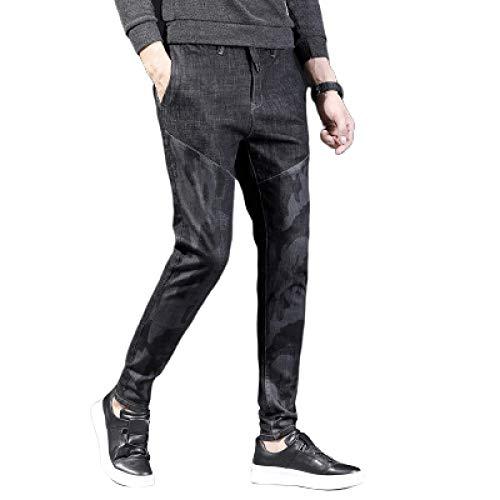 Pantalones Casuales para Hombre Pantalones Vaqueros duraderos elásticos, Ajustados, Resistentes al Desgaste, con Bolsillos con cordón 32