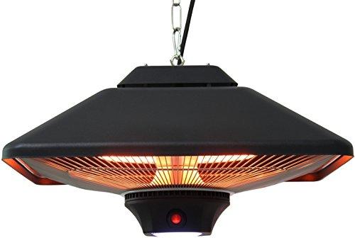 Aktobis Decken-Heizstrahler, Balkonheizer, Zeltheizer WDH-200LS (Schwarz + bis 2.000 Watt + LED Lampe)