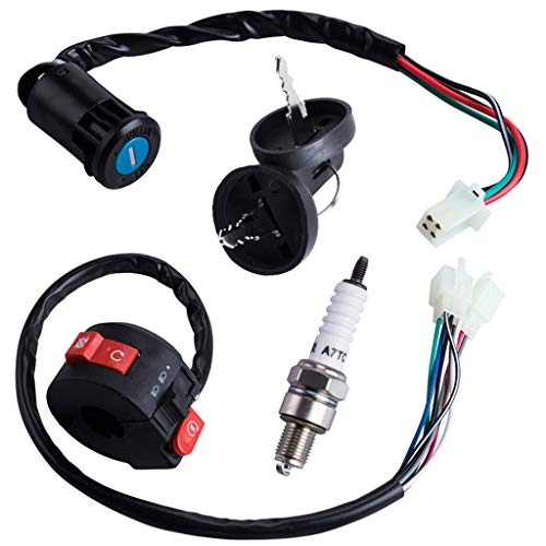 3 Function Left Starter Switch+4 Wires Ignition Switch Key with Cap Assembly for 50cc 70 cc 90cc 110 cc 125cc 150cc TaoTao SUNL Coolster Chinese ATV Quad 4 Wheeler Apollo Dirt Bike Scooter Parts