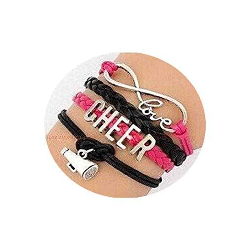 Cheer Bracelet, Love to Infinity and Beyond, Infinity Love, Love to Cheer, Cheer, Cheerleading, Cheerleader, Megaphone, Hot Pink, Black