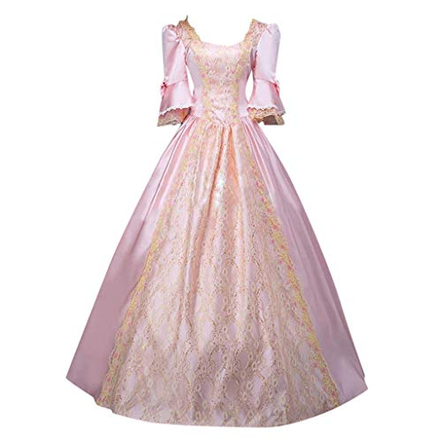 Forthery Women Rococo Ball Gown Gothic Victorian Dress Costume Gothic Period Reenactment Theater Costumes(Pink,XXXXL)