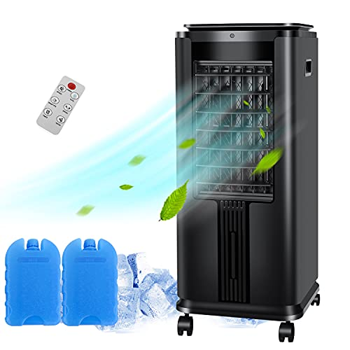 """SWHOME 3-IN-1 Portable Evaporative Coolers 30"""" Swamp Cooler Air Conditioner Fan Humidifier 12H Timer, with Remote Control Ice Box (Black)"""