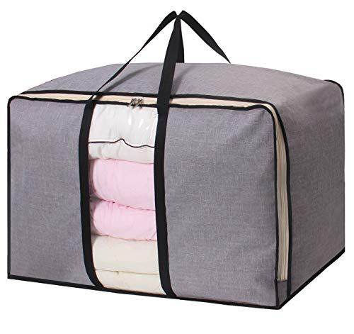 Large Capacity Storage Bag Waterproof Foldable Clothing Organizer Bag for Comforters Blankets Clothes Bedding Breathable Thick Under Bed Storage with Two Handles, Grey