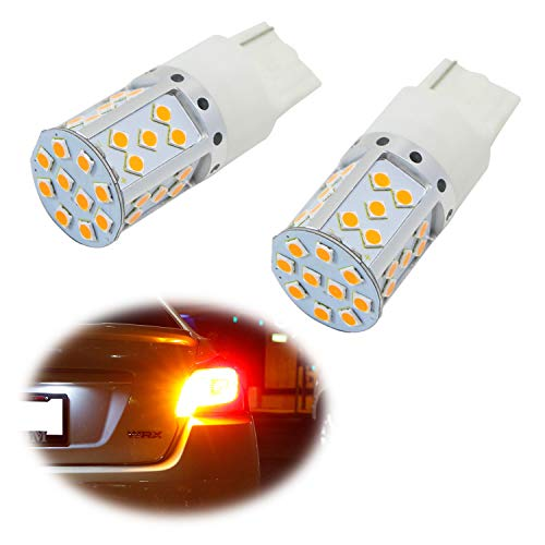 iJDMTOY (2) No Resistor, No Hyper Flash 21W High Power Amber 7440 W21W T20 LED Bulbs Compatible With Car Front or Rear Turn Signal Lights