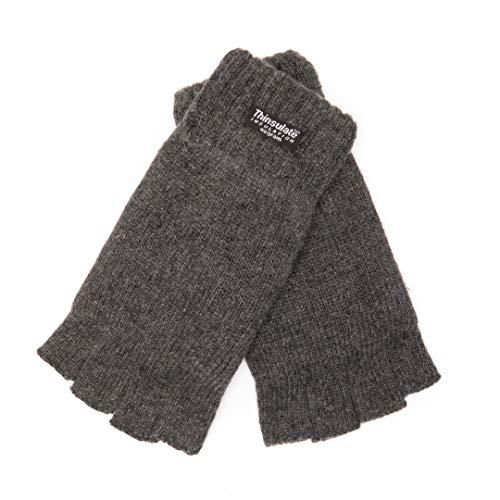 EEM KARLO - Guanti da uomo a mezze dita con fodera termica Thinsulate in poliestere, materiale lavorato a maglia in 100% lana antracite. XL