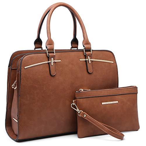 Dasein Women Satchel Handbag Shoulder Purse Top Handle Work Bag Tote Bag With Matching Wallet (Brown)