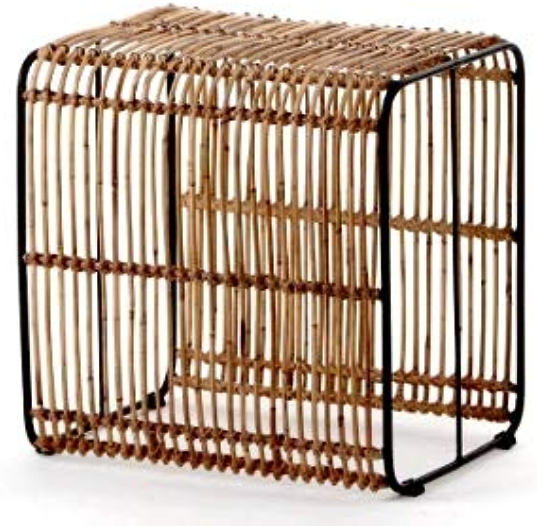 Animal-design Rattan Tisch Roy (60004) Beistelltisch Fuhocker Würfel Cube Couchtisch Wohnzimmer Natur Design