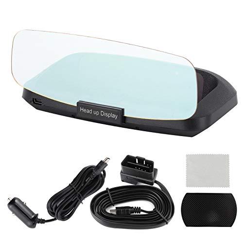 KIMISS Pantalla Hud Head Up para automóvil, Modo OBD2 y GPS, Voltaje de sobrevelocidad, Alarma de Temperatura del Agua, recordatorio de Falla del Motor de conducción de Fatiga