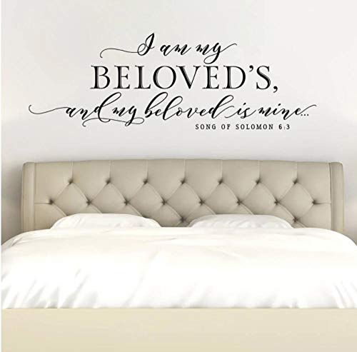 Calcomanías de pared de vinilo con cita de la canción de Salomón 6:3 para decoración de la pared del hogar, decoración del dormitorio, mural de 57 x 20 cm