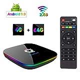 Greatlizard Android 9.0 Q Plus TV Box 4GB RAM 64GB ROM 4K HD H6 Quad Cord 2.4G WiFi Smart TV Box