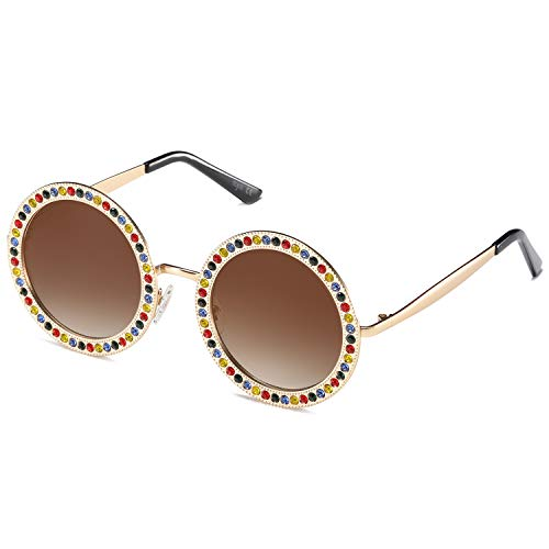 SOJOS Shining Oversized Round Rhinestone Sunglasses Festival Gem Sunnies SJ1095 with Gold Frame/Gradient Brown Lens with Colored Diamonds