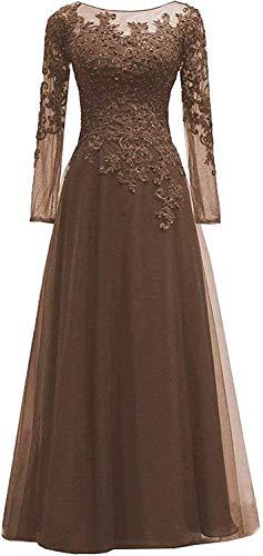 HUINI Abendkleider Spitze Ballkleider Lang A-Linie Brautjungfernkleider Brautkleid Vintage Festkleid Langarm Braun 56