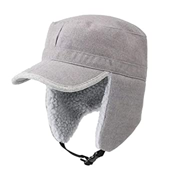 Home Prefer Mens Windproof Hat with Visor Warm Winter Hat with Earflaps Skull Cap Military Cap Light Gray