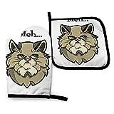 BONRI Cat Talking Word Meh Manoplas de horno y soportes para ollas Juegos de guantes de horno y agarraderas con guantes de cocina antideslizantes de poliéster reciclable para cocinar y asar