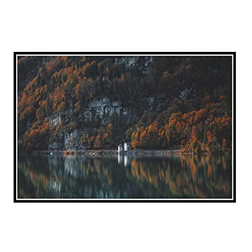 DOAQTE Pflanzen Wald Ahorn Sumpf Leinwand Malerei Nordic Leinwand Poster Und Drucke Wandbilder Für Wohnzimmer -50X80 cm Kein Rahmen 1 Stück P