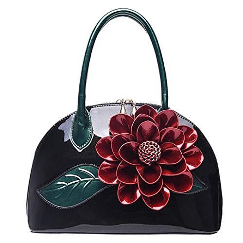 XDDQ Handtasche Damen Neue Perlglanz Lack Handtasche Trompete Blume Shell Pakete Schultertasche Frau Lady