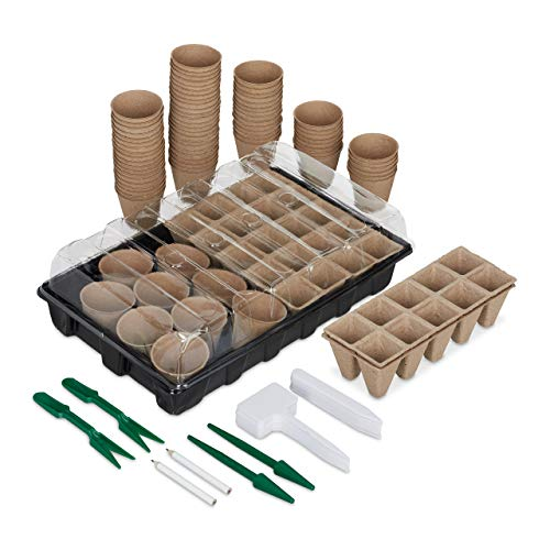 Relaxdays Anzuchtset 131 TLG, für Pflanzen, Anzuchtkasten mit Anzuchttöpfen, Pikierwerkzeug & Pflanzschildern, schwarz