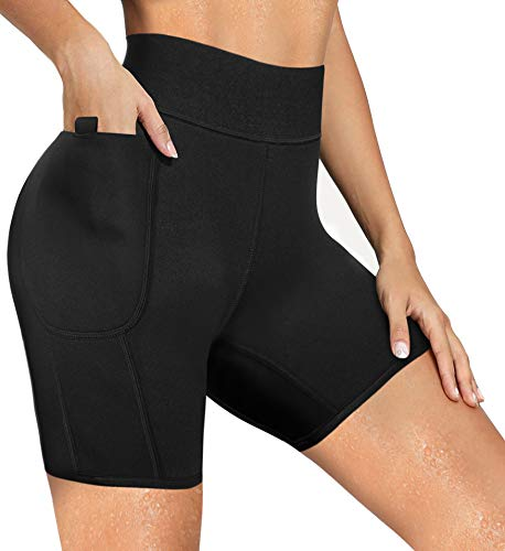 LODAY Neoprene Sauna Shorts with Pocket for Women Weight Loss Sweat Pants Workout Body Shaper Yoga Leggings (Black Shorts, Large)