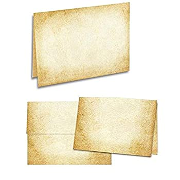 Aged Parchment Paper Note Card Set for Writing-Tent Fold-4.75x6.5-8-Pack