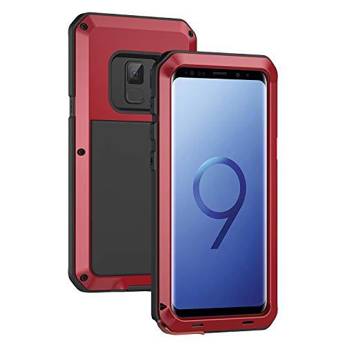 seacosmo Samsung Galaxy S9 Hülle, Tough Armor Aluminium Handyhülle S9 Doppelte Schutz Stoßfest Hülle Outdoor Schutzhülle für S9, Rot