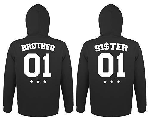 TRVPPY Herren Damen Brother Sister Pullover mit Wunschzahl Pärchen Kapuzenpullover - Damen Hoodie Schwarz Gr. XXL
