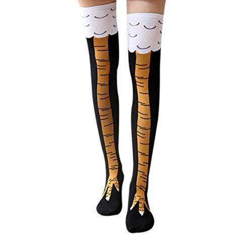Wide.ling Lustige Frauen Mädchen Huhn Kreative Print Cartoon Oberschenkel Socken Overknee Strümpfe (Schwarz, Freie Größe) (30cm)