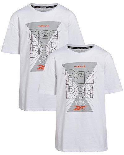 Reebok Boys Short Sleeve Athletic Graphic T-Shirt (2 Pack), Size X-Large, White/White'
