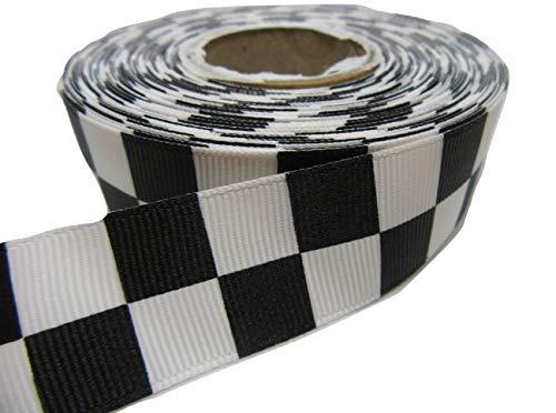 2 mètres x 25 mm 2.5cm Woven Ribbon Noir et Blanc Place Bloc Damier Checkered Motif Bande de Police Sillitoe Tartan 25 mm
