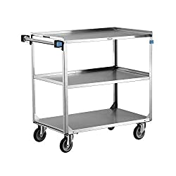 "Heavy Duty Stainless Steel Cart-Lakeside 444 Stainless Steel Utility Cart; 500 Lb Capacity, 3 Shelf, 21""X35"""