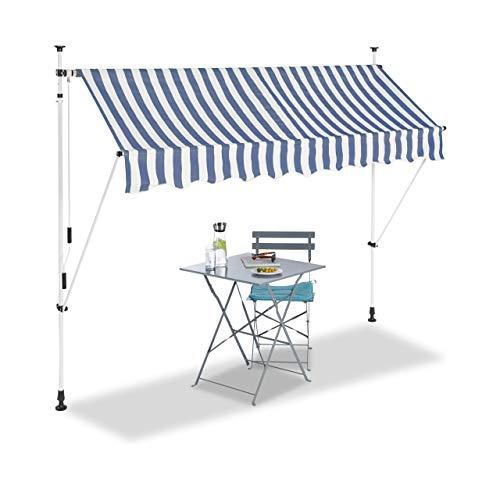 Relaxdays, blau Klemmmarkise, Balkon Sonnenschutz, einziehbar, Fallarm, ohne Bohren, verstellbar, 250 cm breit, gestreift
