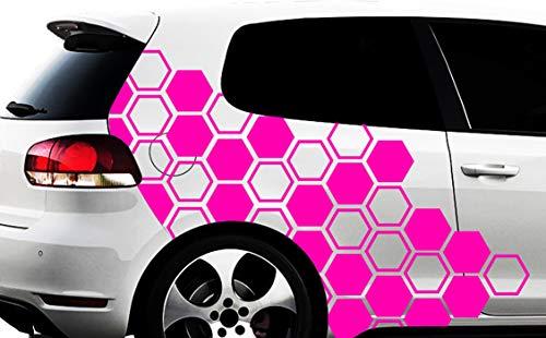 HR-WERBEDESIGN Hexagon Pixel Cyber Camouflage XXL Set Auto Aufkleber Sticker Tuning Wandtattoon