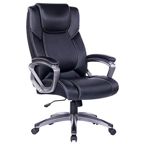 Bosmiller Bürostuhl Chefsessel Drehstuhl Bürostuhl aus Leder mit hoher Rückenlehne Computerstuhl Sitzhöhenverstellung Office Stuhl Polsterung (9081Schwarz)