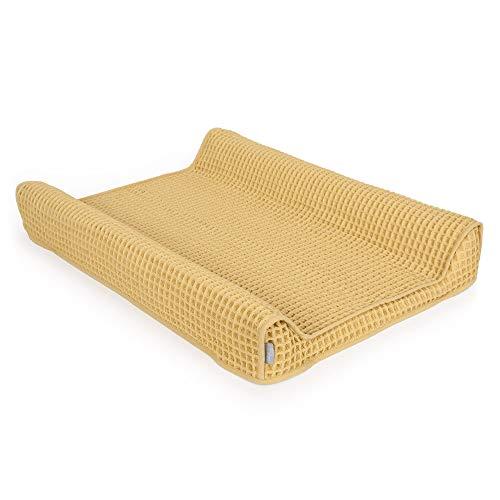 Ceba Baby Bezug für Wickelauflage - Wickelauflagenbezug für den 2-Keil Wickelmulde 50x70 cm - Überzug für Wickelunterlage aus Baumwolle, extra dick und kuschelig - gold cremig