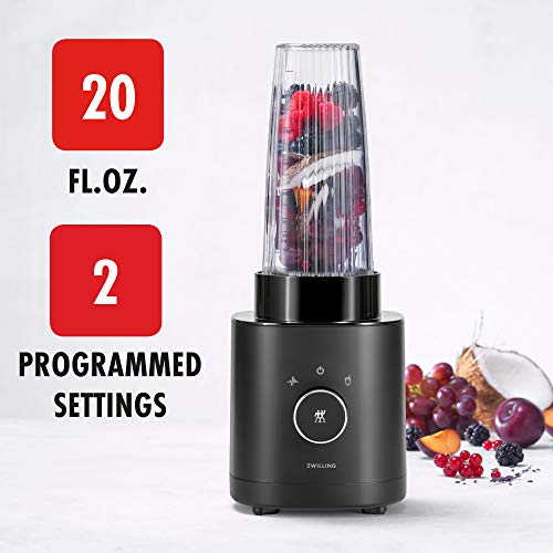Zwilling Enfinigy Personal Blender, Piranha Teeth Cross Blade for Ultimate Blending, Smoothies, Shakes and More, 20 fl oz Breakproof Travel Cup with Lid, BPA Free, Black