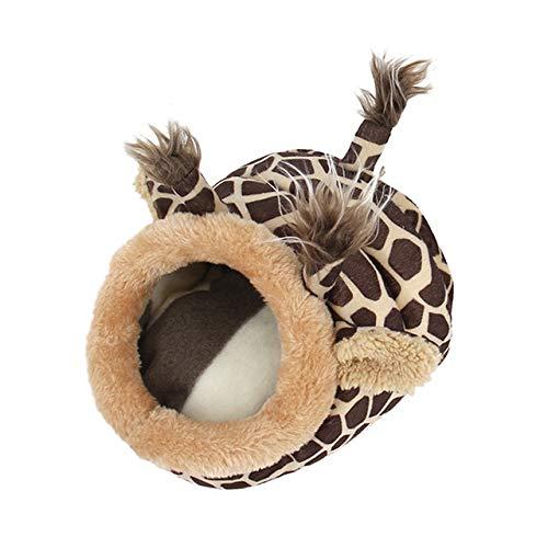 qwert - Casa de Felpa para Mascotas, Conejillos de Indias, hámsteres, erizos, Conejos, Ratas holandesas, cálida, Bonita, cálida, para Animales pequeños, hámster, Jirafa, 23 cm x 21 cm x 15 cm