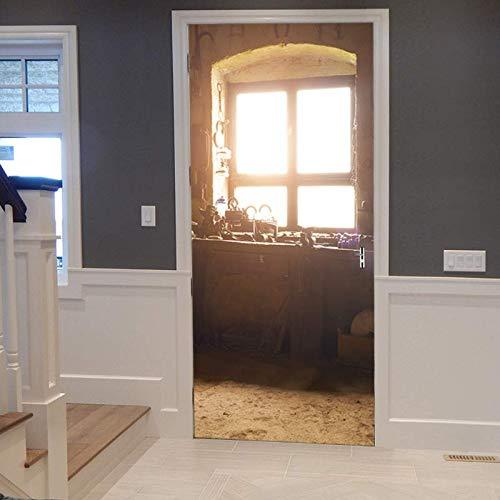 Deurposter 3D zelfklevende deur sticker fotobehang afneembare slaapkamer kantoor wandsticker decoratie 77X200 cm (oude vensterbank)