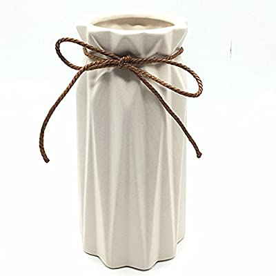 Anding White Ceramic Vase - Elegant Origami Art Design- Ideal Gift for Friends and Family, Wedding, Desktop Center Vase… - SIZE;L3.5 x H7.08x W3inch MATERIAL;ceramic Elegant white origami design three-dimensional view and decoration co-exist - vases, kitchen-dining-room-decor, kitchen-dining-room - 4153YOqm6KL. SS400  -