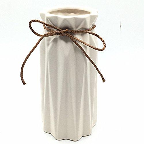 Anding White Ceramic Vase - Elegant Origami Art Design- Ideal Gift for Friends and Family, Wedding, Desktop Center Vase, A Perfect Home Decor Vase (LY096)