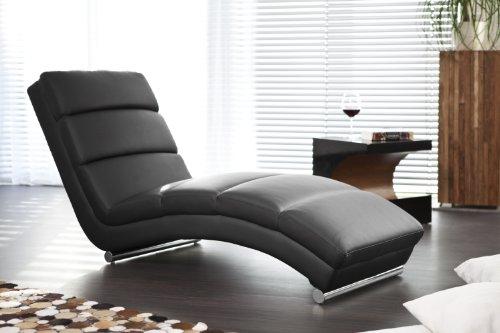 Designer-Liege Chaise-Longue aus Kunstleder schwarz mit verchromten Gestell   Renta   Relax-Liege zum Entspannen aus hochwertigem Kunstleder schwarz   Moderner Liege-Sessel für Ihr Wohnzimmer