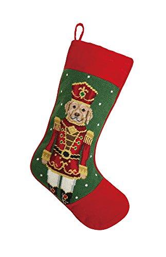 Labrador Retriever Nutcracker Christmas Stocking, Wool Needlepoint, 11 Inch X 18 Inch