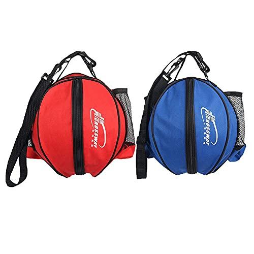 JPY Bolsa de transporte de baloncesto impermeable con correa de hombro ajustable Soporte portátil de fútbol de voleibol de fútbol (rojoazul)