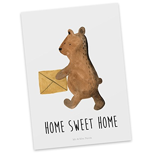 Mr. & Mrs. Panda Einladung, Grußkarte, Postkarte Bär Zuhause mit Spruch - Farbe Weiß
