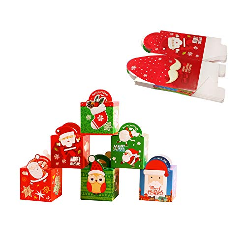 20Pack Christmas Candy Boxes, Christmas Fruit & Candy Wrapping Box with Handle for Candy, Holiday Party Favor Supplies(A)