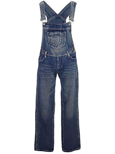 ANNA-KACI Frauen-Denim Blue Jeans Gerades Bein Taschen Latzhose